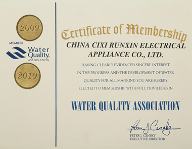 WQA Certificate of Membership